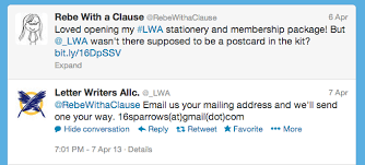 Letter Writers Alliance membership and stationery Rebe With a Clause