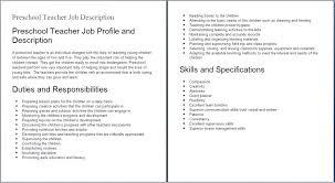 Esl Teacher Duties Sample Resumes Resume Examples Templates Ideas Preschool Assistant Job Description