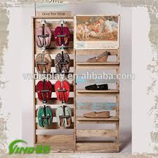 New Style Rustic Wood Shoe Rack Store Display Racks With Metal Hooks