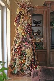 Gold And Dark Red Wine Colored Christmas Tree