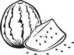 Black and White Cut Watermelon Clipart