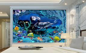 chambre dauphin papier peint personnalisé tapisserie 3d paysage fond marin sur