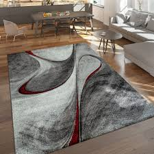 kurzflor teppich abstraktes design rot grau