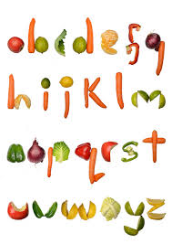 Alphabet made out of Fruit and Ve ables