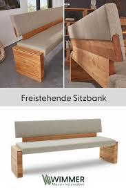 freistehende bank mit polsterung aus massivholz für dein