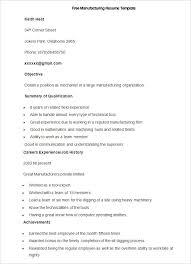 Free Sample Manufacturing Resume Template