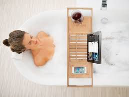 Bathtub Caddy With Reading Rack by Amazon Com Bamboo Bathtub Caddy Tray With Extending Sides
