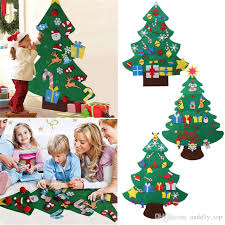 Kids Diy Christmas Tree Set With Ornaments Boys Girls Xmas Gift Toddler Door Wall Sticker Hanging Preschool Craft Children Room Decoration
