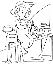 Little Girl Fishing Coloring Pages