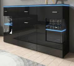 sideboard kommode schwarz hochglanz mit led wohnzimmer