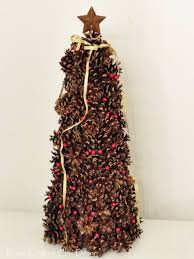 A Styrofoam Cone Mini Pinecones Rustic Christmas Tree By