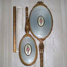 Vintage Vanity Dresser Set by Apollo Studios Ormolu Dresser Vanity Set With Guilloché Medallion