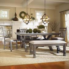 Powell Turino Grey Oak Dining Room Kitchen Table 4 Chairs Bench Set Furniture Ebay