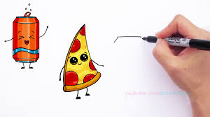 Full HD How to Draw Cute Pizza Slice & Soda Can Cute and Easy