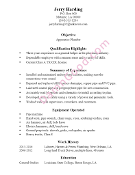 Resume Sample Apprentice Plumber