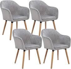 woltu 4er set esszimmerstühle küchenstuhl wohnzimmerstuhl polsterstuhl design stuhl mit armlehne samt massivholz hellgrau bh95hgr 4