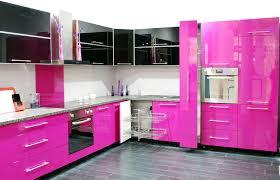 Stunning Modern Open Kitchen Design With Pink Gloss Backsplash And Black Floating Cabinet Also Gray Floor