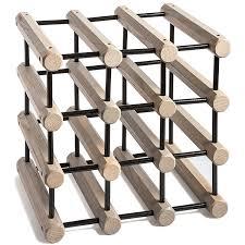 Wooden Ash Modular Wine Rack Grey with black Pins