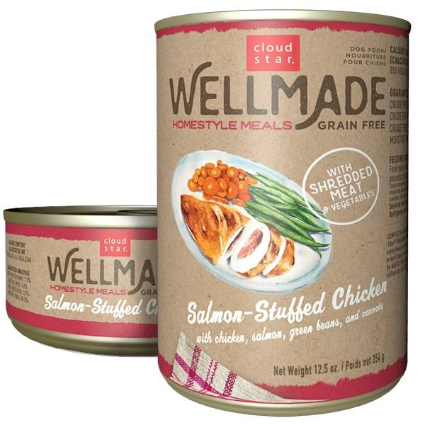 Cloud Star 25013005 12.5 oz Wellmade Homestyle Meals Salmon-Stuffed Chicken Wet Dog Food