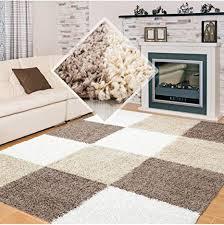 carpet 1001 hochflor langflor wohnzimmer shaggy teppich kariert braun weiss beige 80x250 cm