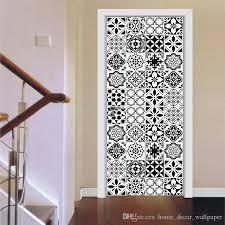 großhandel pvc badezimmertür aufkleber 3d vinyltapete schwarz für wände tür abdeckung 77 200 cm küche wandtattoos decor selbstklebende kunst