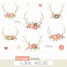 SALE 50 Floral Antlers Rustic Wedding Clipart Antler Clip Art Bouquet Vintage Flowers Shabby Wreaths Deer Inv