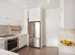 amazing white gloss kitchen cabinetry set also chrome refrigerator