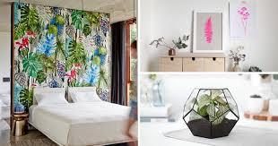 plante chambre décoration intérieure avec des motifs de fleurs et de plantes