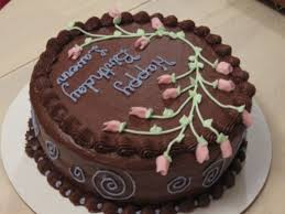 Round Chocolate Cake With Pink Flowers on Cake Central