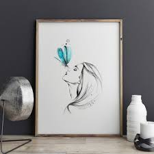 Girl With Butterfly Pencil Sketch Watercolor Painting Sweet Home Poster Wall Art Decor Room Hanging