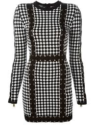 balmain jeans saks black and white checked knit dress from