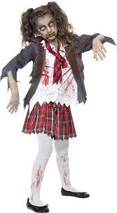 Smiffys Children's Zombie School Girl Costume, Tartan Skirt, Jacket ...