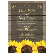Rustic Yellow Sunflowers And Wood Wedding Invitation