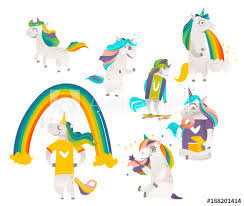 Set Of Funny Cute Unicorns Doing Magic Standing Running Eating Donuts Vomiting