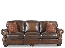 mathis brothers sofa and loveseats nailhead accented leather 97 sofa in brown mathis brothers