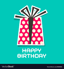 Happy Birthday Card Paper Gift Box And Cut Vector Image