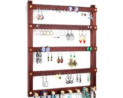 Toms Earring Holders Bloodwood Jewelry Holder With Necklace Rack