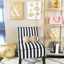 Striped Armless Black And White Chair Gold Pouf Sequin Bow Accent Pillow