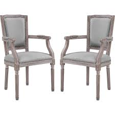 Penchant Dining Arm Chair In Light Gray Fabric & Weathered Wood (Set Of 2)  By Modway