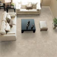 living room with modern recliner also plush marble tile