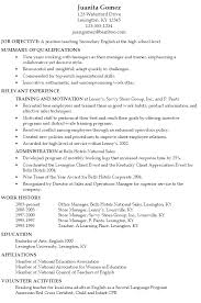 Resume Example In English