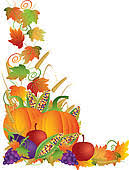 Clip Art of Thanksgiving Fall Harvest and Vines Border Illustration k Search Clipart Illustration Posters Drawings and EPS Vector Graphics