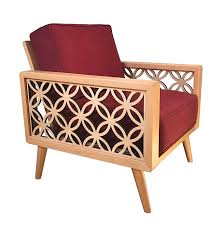100 Modern Style Lounge Chair Interlaced Circles Mid Century NaturalWine Red