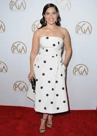 america ferrera in a black and white polka dot alexia maria dress