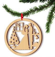 Hanging Wood Christmas Tree Ornaments With Jute Ribbon Hollow Wedding Bride Groom Wooden Pendants Gifts Supplies 5pcs Set