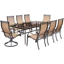 Hanover Monaco 9-Piece Aluminum Outdoor Dining Set With Rectangular  Glass-Top Table And 2 Swivel Chairs Outdoor Fniture Alpharetta Wicker Wrought Iron Table With 36 Round Top And Chair Bistro Black Event Rentals In Home Shop 100 Styles For Every Room Crate Barrel Patio Design Specialist American Casual Living Vintage Mid Century Modern Rattan Hoop The Ritzcarlton Atlanta Ga Jsetter Console Made From Parisian 1880s Wughtiron Balcony Custom Stone Four Hands Powell 55 Ding Used Garden Chairish Kiersten
