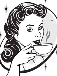 Women Drinking Coffee Clipart
