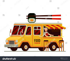 Japanese Sushi Street Food Truck Flat Stock Vector (Royalty Free ...