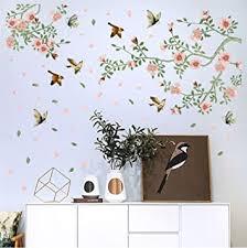 wandsticker4u wandtattoo aquarell pfirsichblüte rosa grün i wandbilder 133x85 cm i wandsticker blumen vogel baum zweig blüten aufkleber i wand deko