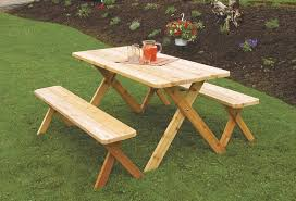 Amish Cedar Wood Outdoor Dining Furniture Table Set Wooden Benches